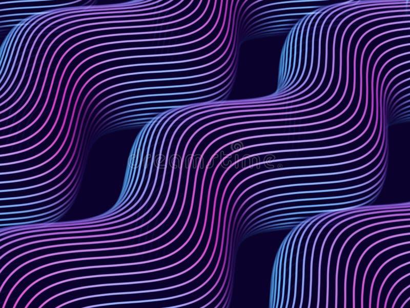 3d correcte golven Abstracte visualisatie van grote gegevens en kunstmatige intelligentie stock illustratie