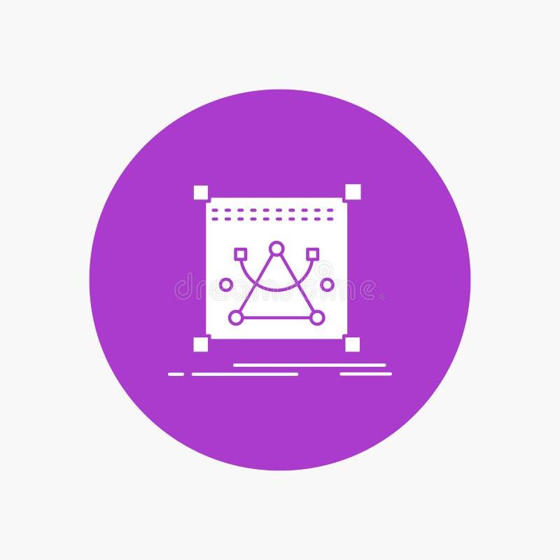 3d, corrigen, corrigiendo, objeto, vuelven a clasificar según el tamaño el icono blanco del Glyph en círculo Ejemplo del bot?n de libre illustration