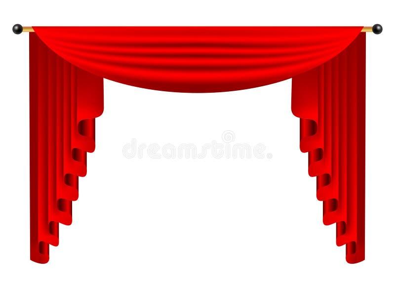 3d cortina de seda de lujo roja, terciopelo realista de la decoración interior ilustración del vector