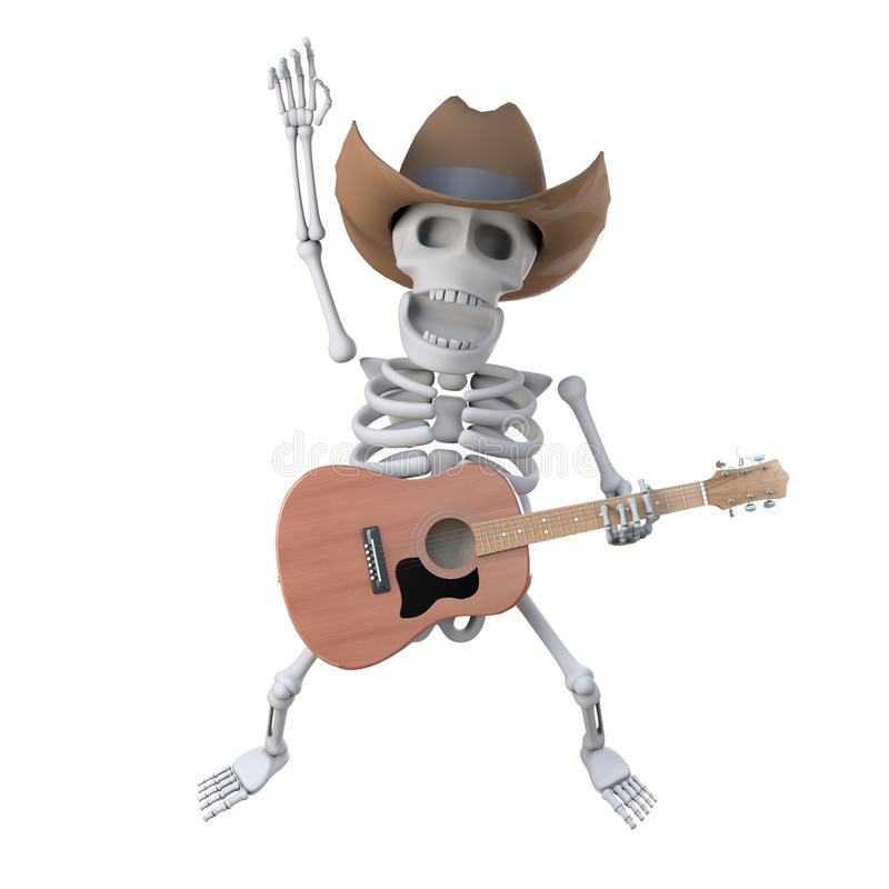 3d Cowboy skeleton leaps in the air with his acoustic guitar royalty free illustration