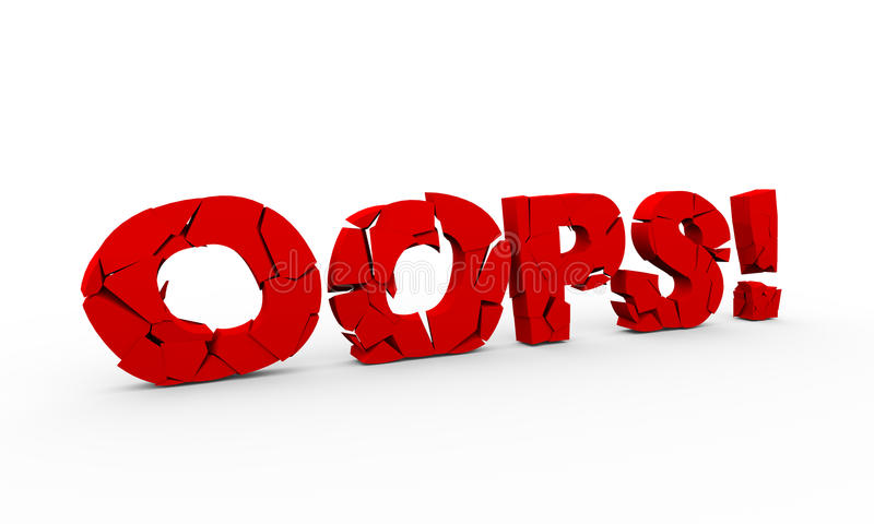 3d cracked word text oops royalty free illustration