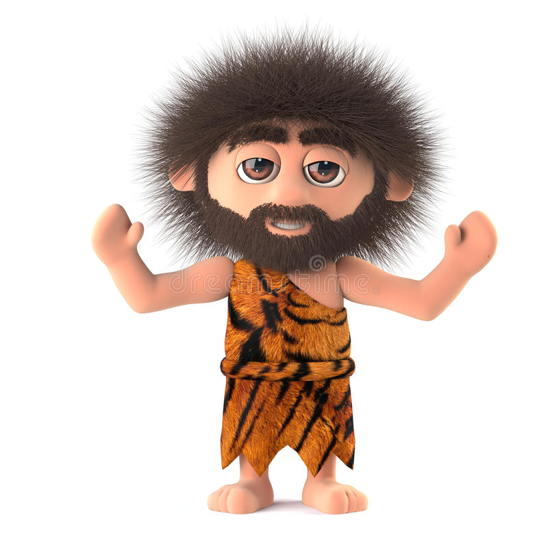 3d Crazy hairy caveman cheers with joy. 3d render of a crazy hairy caveman wearing animal skins and holding his arms in the air in a cheering gesture royalty free illustration