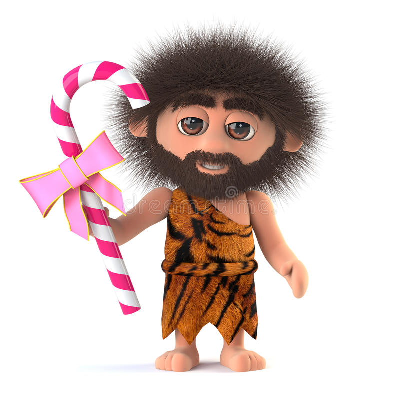 3d Crazy hairy caveman holding a stick of candy stock illustration
