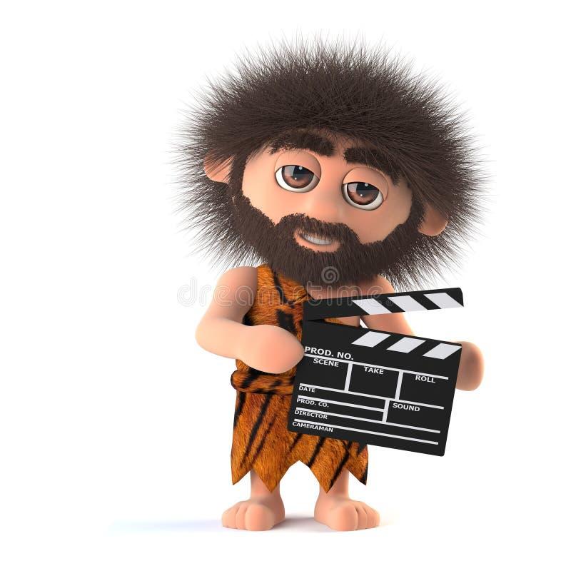 3d Crazy hairy caveman makes a movie vector illustration