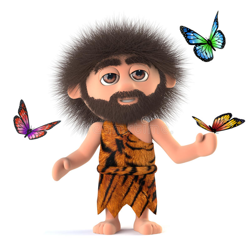 3d Crazy hairy caveman surrounded by butterflies stock illustration