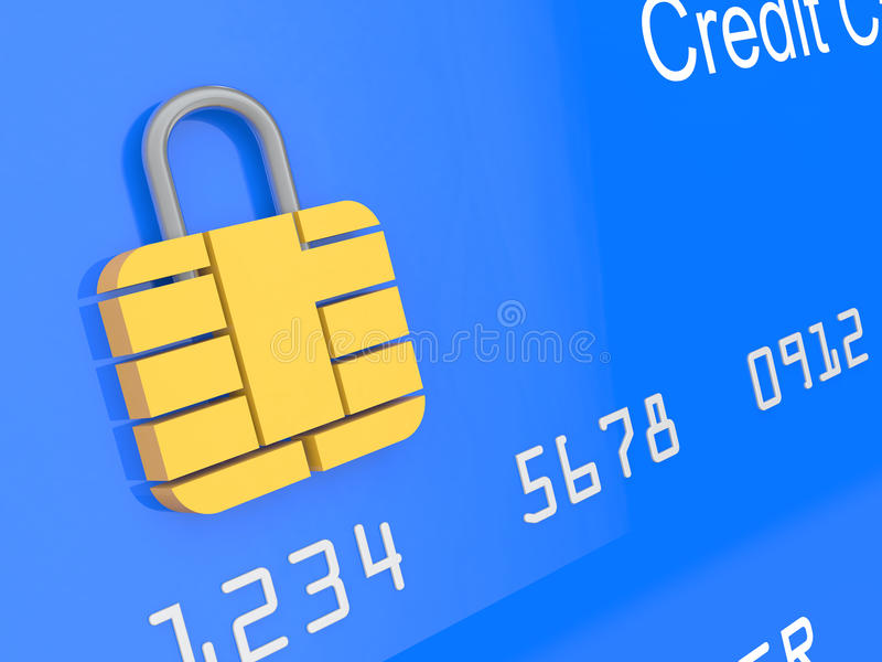3d credit card security concept stock illustration