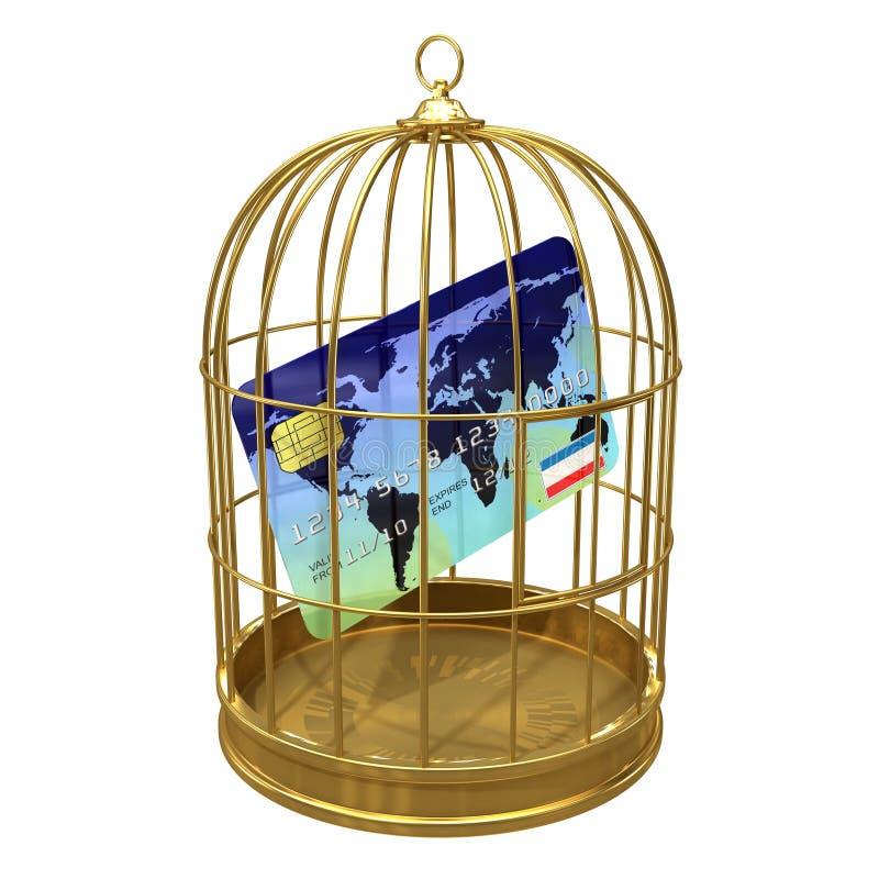 3d creditcard in een birdcage vector illustratie