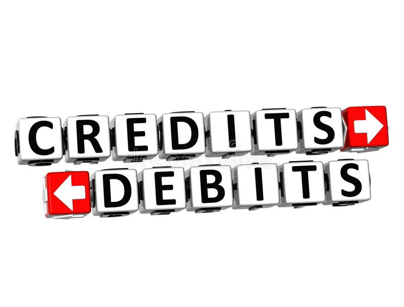 3D Credits Debits Button Click Here Block Text. Over white background stock illustration