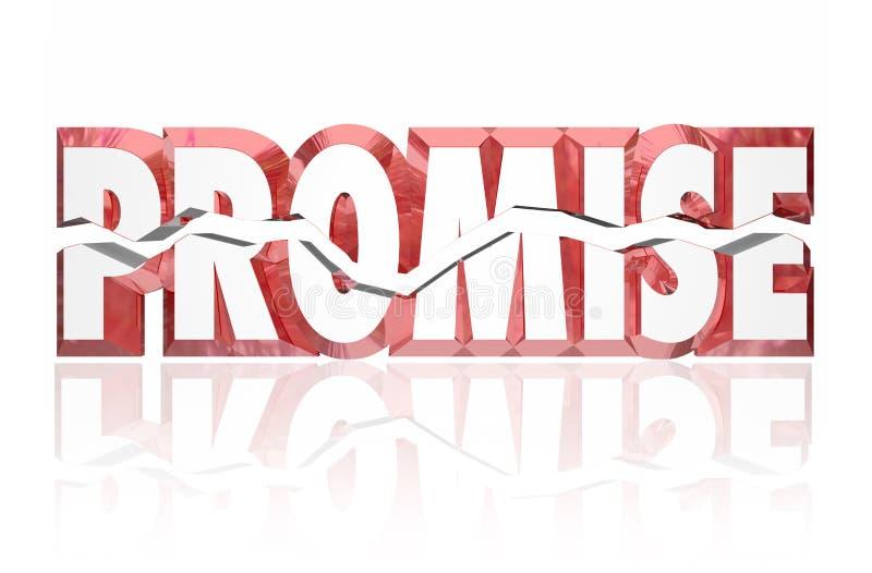 3d criqué cassé par promesse Word rouge illustration stock