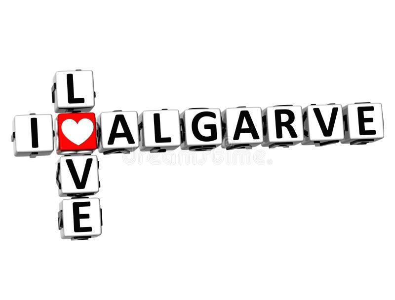 3D Crossword kocham Algarve na białym tle royalty ilustracja