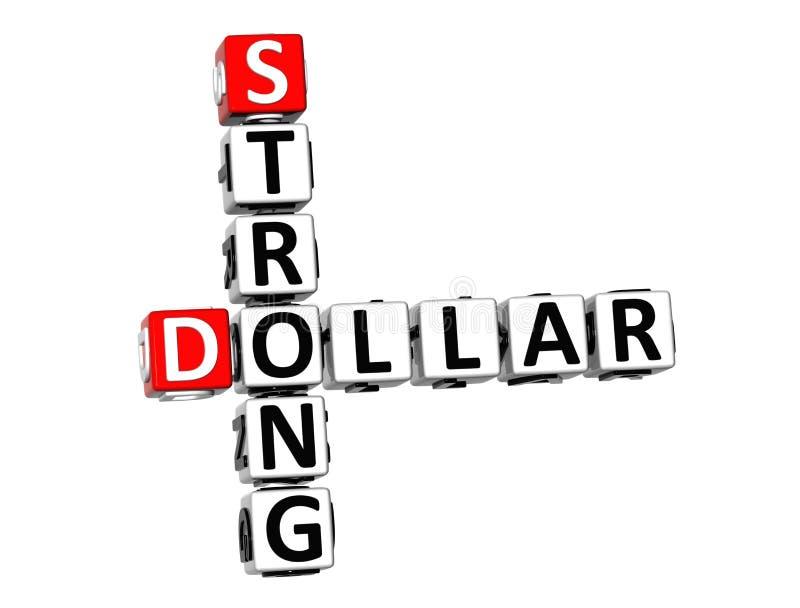 3D Crossword Strong Dollar on white background.  stock illustration