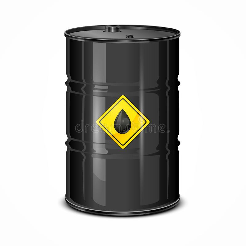 Oil Barel. 3d crude oil barrel with yellow label, on white. Vector illustration vector illustration