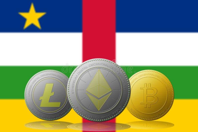 3D cryptocurrencies Bitcoin Ethereum och Litecoin för illustrationen tre med republiken av centrala Afrika sjunker på bakgrund royaltyfri illustrationer
