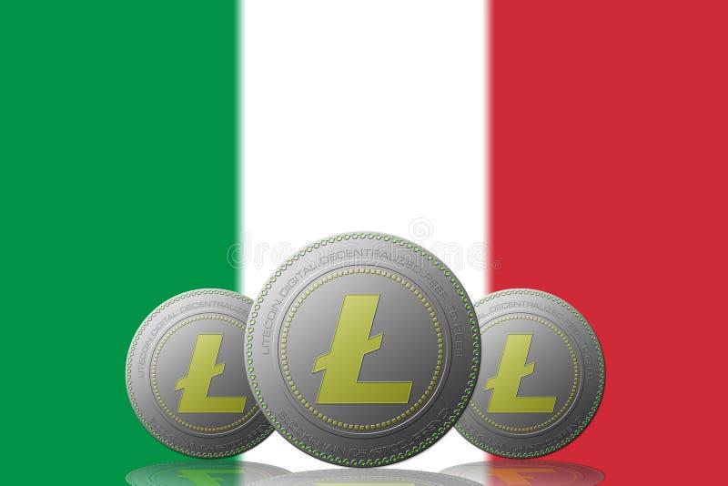 3D cryptocurrency da ILUSTRAÇÃO três LITECOIN com a bandeira de Italia no fundo ilustração stock