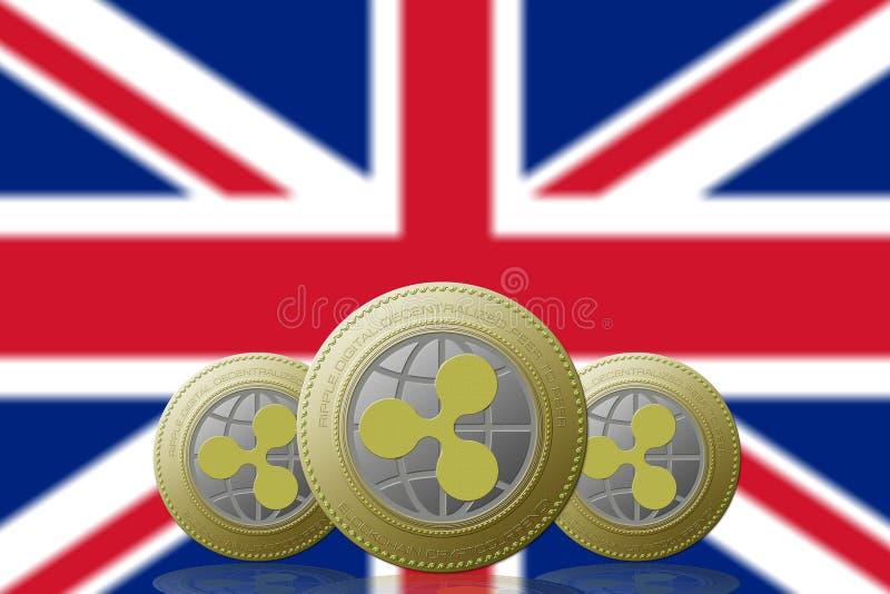 3D cryptocurrency da ONDINHA da ILUSTRAÇÃO três com a bandeira de Reino Unido no fundo ilustração royalty free