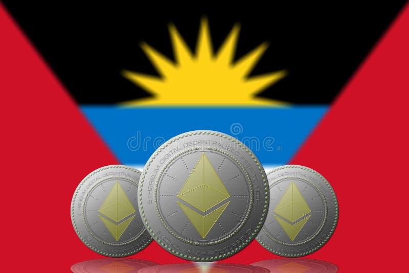 3D cryptocurrency de l'ILLUSTRATION trois ETHEREUM avec le drapeau de l'ANTIGUA Y BARBUDA sur le fond illustration libre de droits