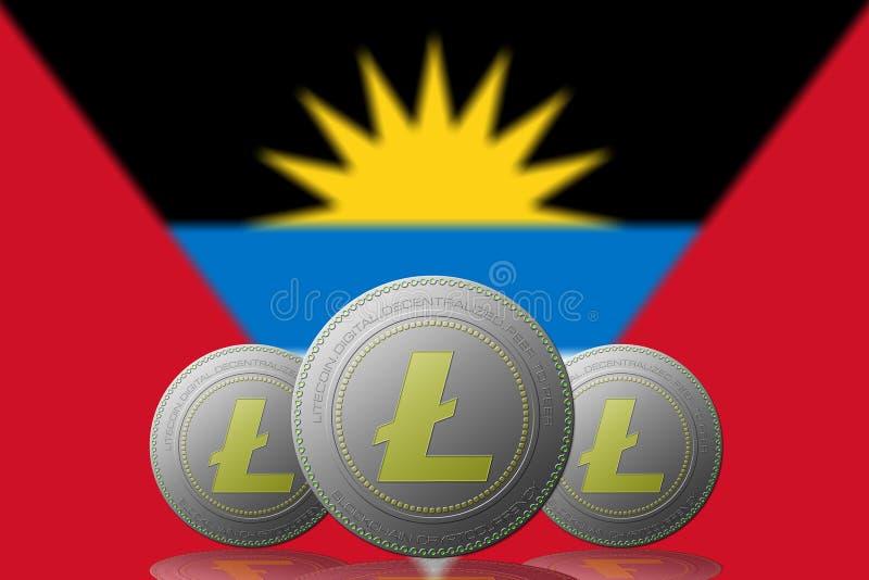 3D cryptocurrency de l'ILLUSTRATION trois LITECOIN avec le drapeau de l'Antigua y Barbuda sur le fond illustration libre de droits