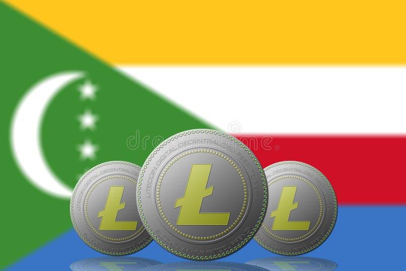 3D cryptocurrency de l'ILLUSTRATION trois LITECOIN avec le drapeau des Comores sur le fond illustration libre de droits