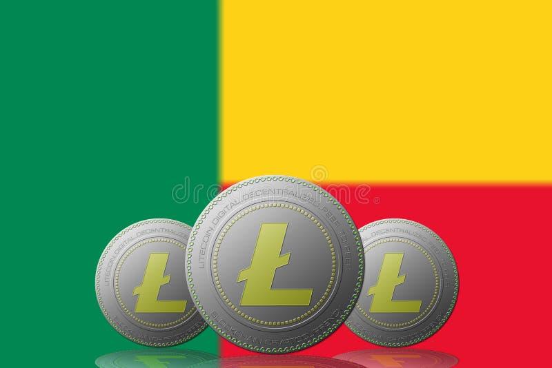 3D cryptocurrency de l'ILLUSTRATION trois LITECOIN avec le drapeau du Bénin sur le fond illustration stock