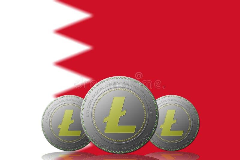 3D cryptocurrency de l'ILLUSTRATION trois LITECOIN avec le drapeau du Bahrain sur le fond illustration libre de droits