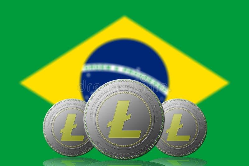 3D cryptocurrency de l'ILLUSTRATION trois LITECOIN avec le drapeau du BRÉSIL sur le fond illustration stock