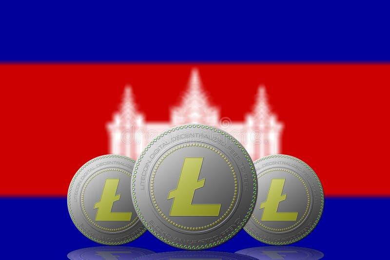3D cryptocurrency de l'ILLUSTRATION trois LITECOIN avec le drapeau du Cambodge sur le fond illustration stock