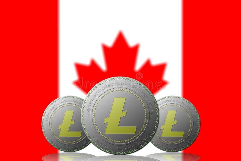 3D cryptocurrency de l'ILLUSTRATION trois LITECOIN avec le drapeau du CANADA sur le fond illustration libre de droits