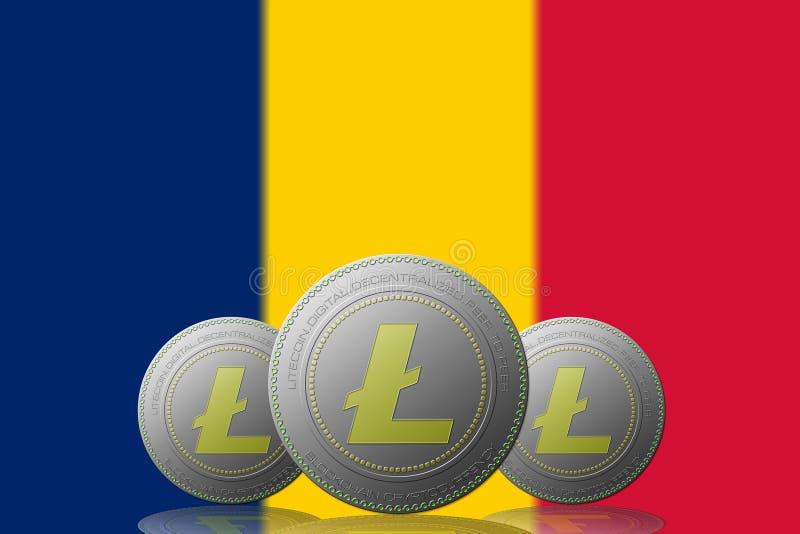 3D cryptocurrency de l'ILLUSTRATION trois LITECOIN avec le drapeau du Tchad sur le fond illustration stock