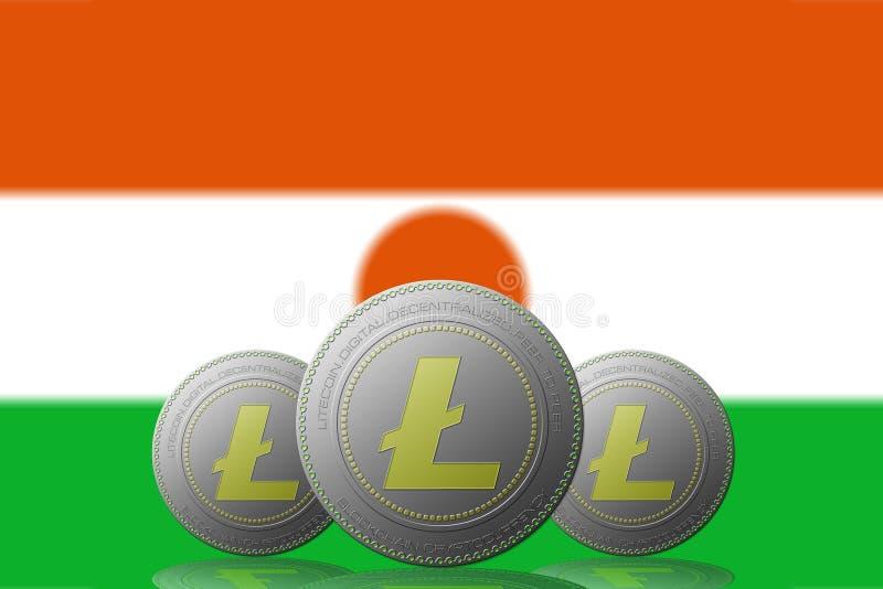 3D cryptocurrency de l'ILLUSTRATION trois LITECOIN avec le drapeau de NÃger sur le fond illustration stock