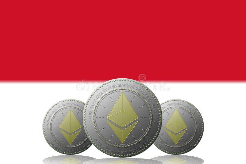3D cryptocurrency för ILLUSTRATION tre ETHEREUM med den Monaco flaggan på bakgrund stock illustrationer