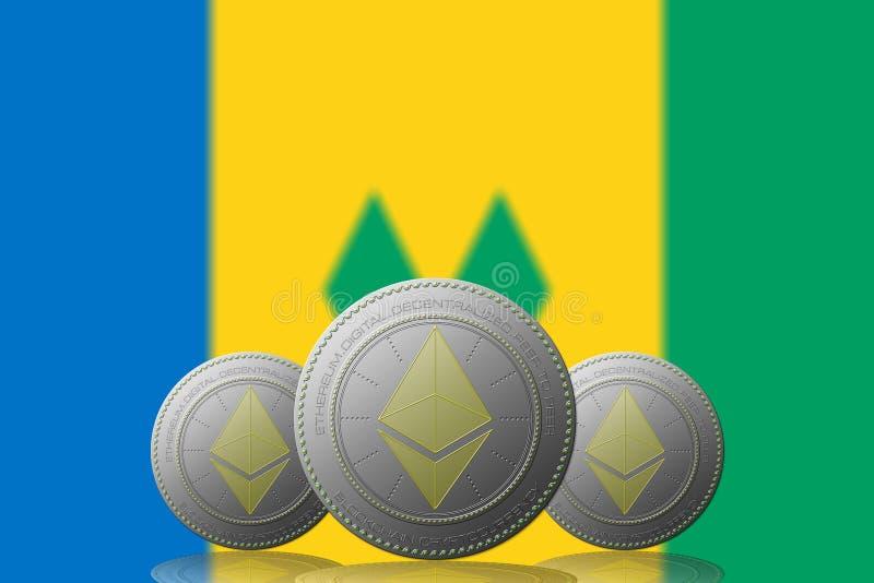 3D cryptocurrency för ILLUSTRATION tre ETHEREUM med den Saint Vincent och Grenadinerna flaggan på bakgrund royaltyfri illustrationer