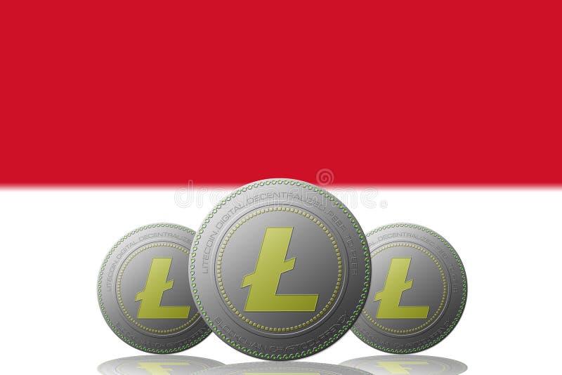 3D cryptocurrency för ILLUSTRATION tre LITECOIN med den Monaco flaggan på bakgrund stock illustrationer