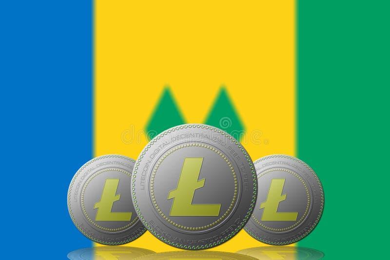 3D cryptocurrency för ILLUSTRATION tre LITECOIN med den Saint Vincent och Grenadinerna flaggan på bakgrund vektor illustrationer