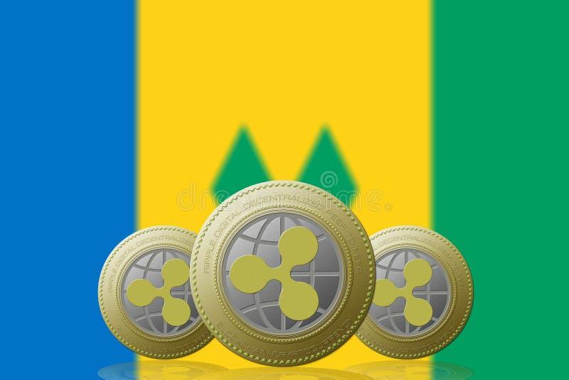 3D cryptocurrency d'ONDULATION de l'ILLUSTRATION trois avec le drapeau de Saint-Vincent-et-les-Grenadines sur le fond illustration de vecteur