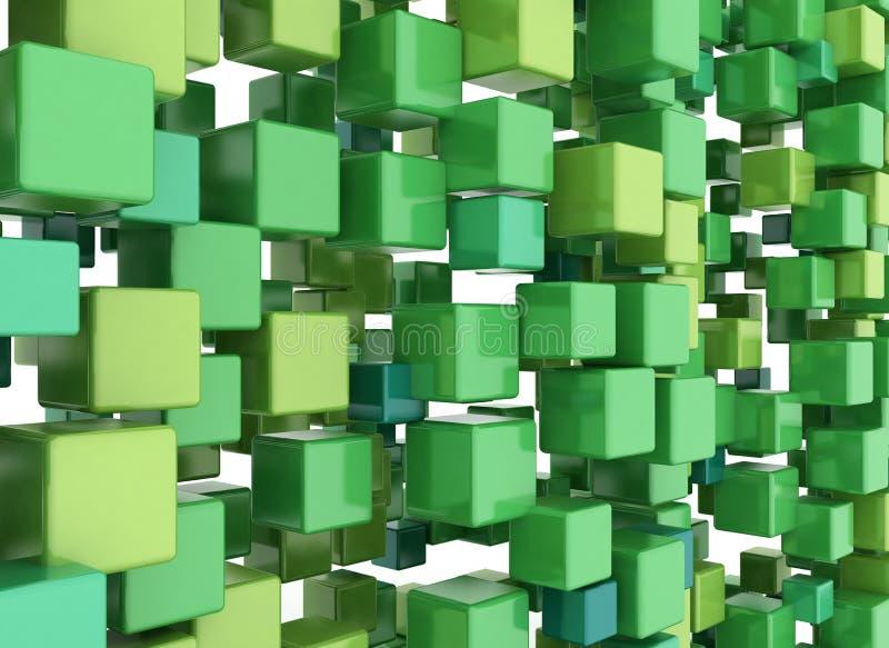 3D cuba o verde do fundo ilustração royalty free
