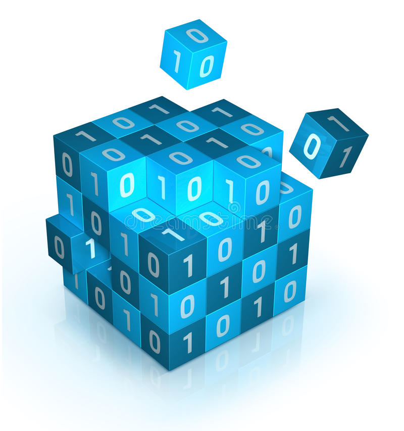 3d Cube. Data encryption concept royalty free illustration