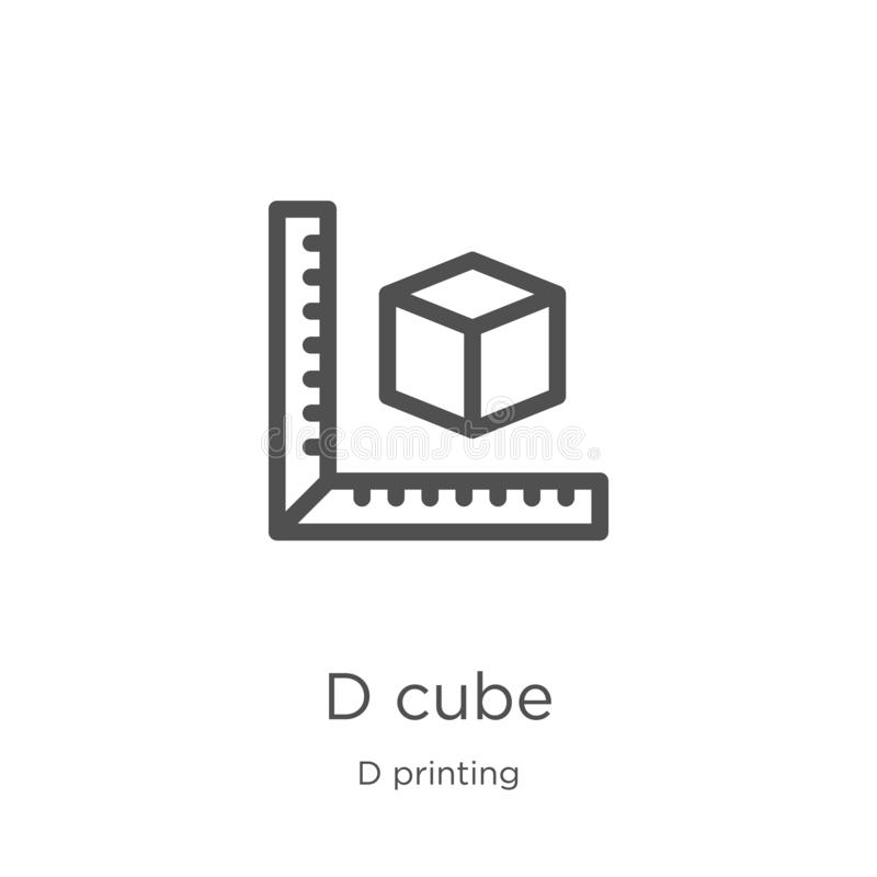 d cube icon vector from d printing collection. Thin line d cube outline icon vector illustration. Outline, thin line d cube icon stock illustration