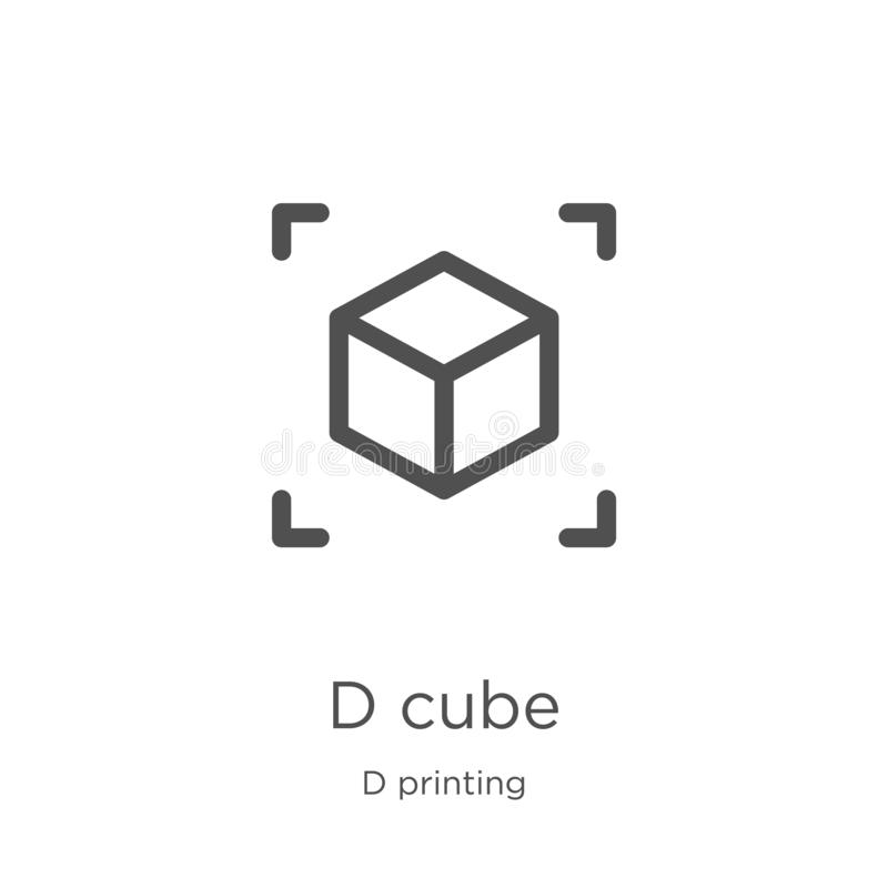d cube icon vector from d printing collection. Thin line d cube outline icon vector illustration. Outline, thin line d cube icon royalty free illustration