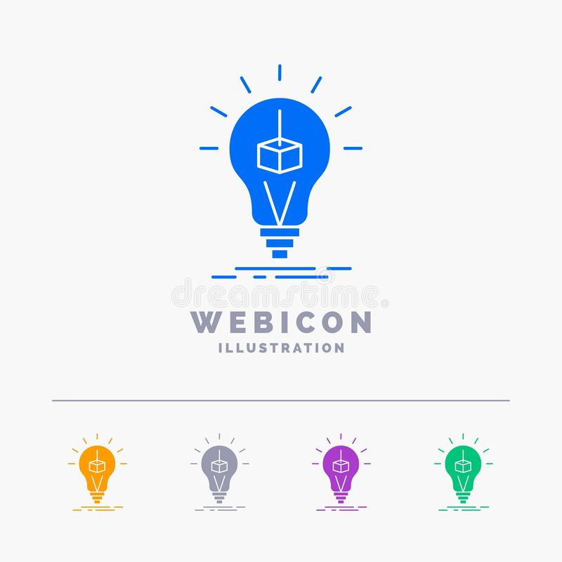 3d Cube, idea, bulb, printing, box 5 Color Glyph Web Icon Template isolated on white. Vector illustration. Vector EPS10 Abstract Template background vector illustration