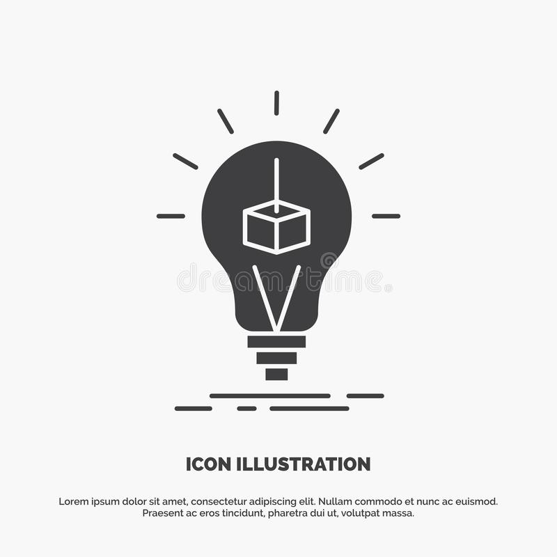 3d Cube, idea, bulb, printing, box Icon. glyph vector gray symbol for UI and UX, website or mobile application. Vector EPS10 Abstract Template background stock illustration