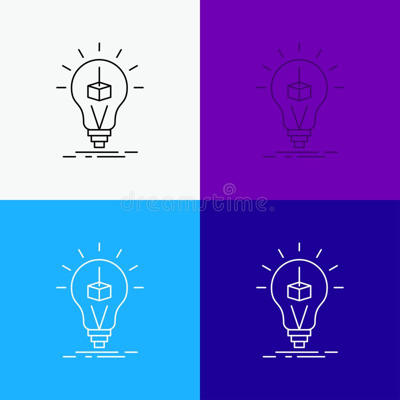 3d Cube, idea, bulb, printing, box Icon Over Various Background. Line style design, designed for web and app. Eps 10 vector. Illustration. Vector EPS10 Abstract vector illustration