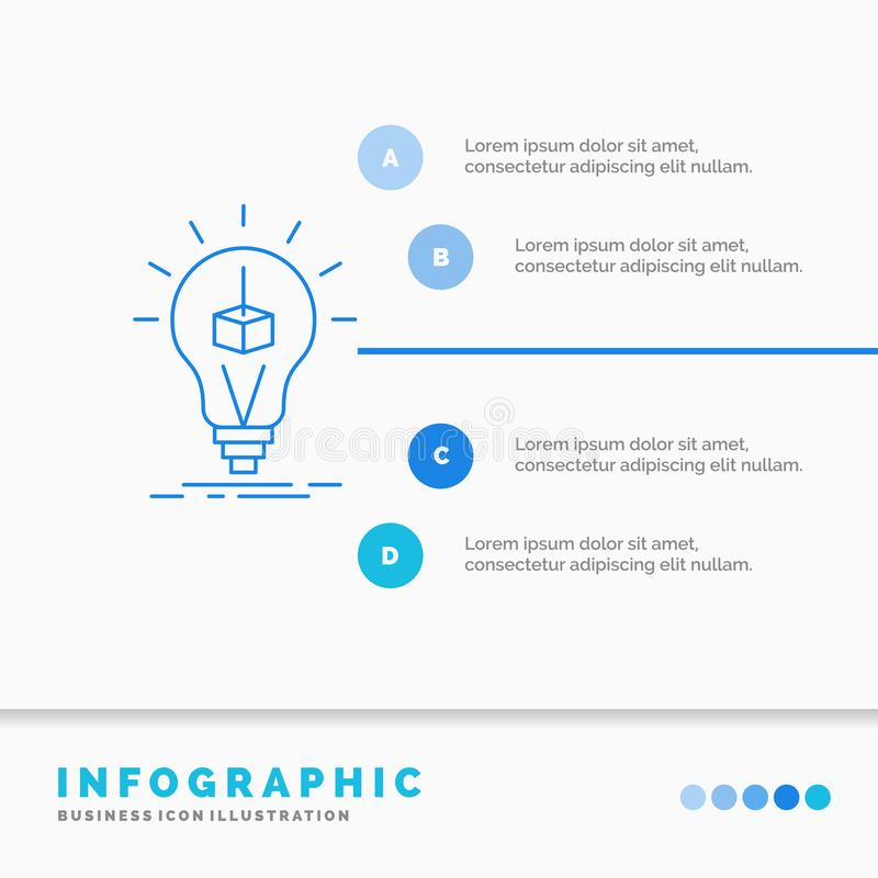 3d Cube, idea, bulb, printing, box Infographics Template for Website and Presentation. Line Blue icon infographic style vector. Illustration. Vector EPS10 stock illustration