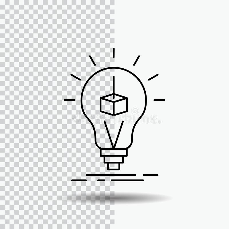 3d Cube, idea, bulb, printing, box Line Icon on Transparent Background. Black Icon Vector Illustration. Vector EPS10 Abstract Template background royalty free illustration