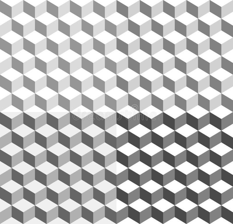 3d cube le fond géométrique tricolore - sans problème qu'on peut répéter illustration de vecteur