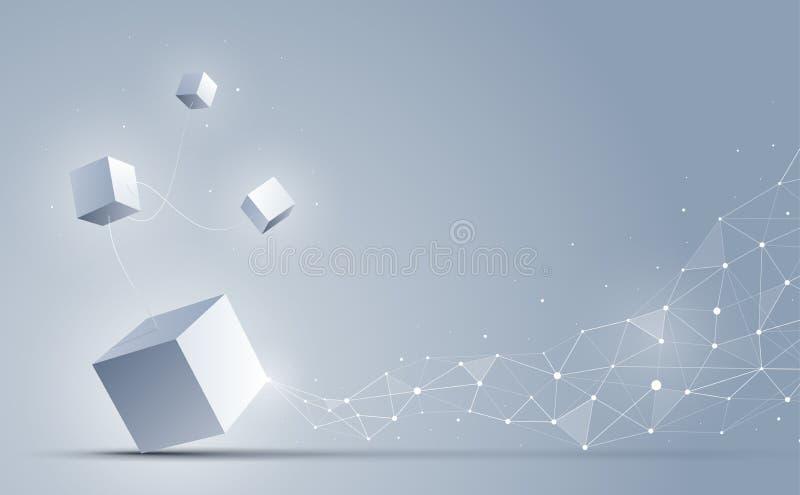 3d cube se relier aux points et aux lignes polygonaux géométriques abstraits Fond de la science et technologie Illustration de ve illustration stock
