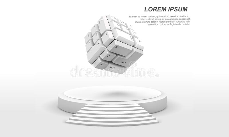 3D cube shape of keyboard buttons with white stage. 3D illustration of cube shape of keyboard buttons with white stage stock illustration