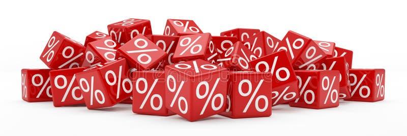 3d - cubes en pour cent - rouge illustration stock