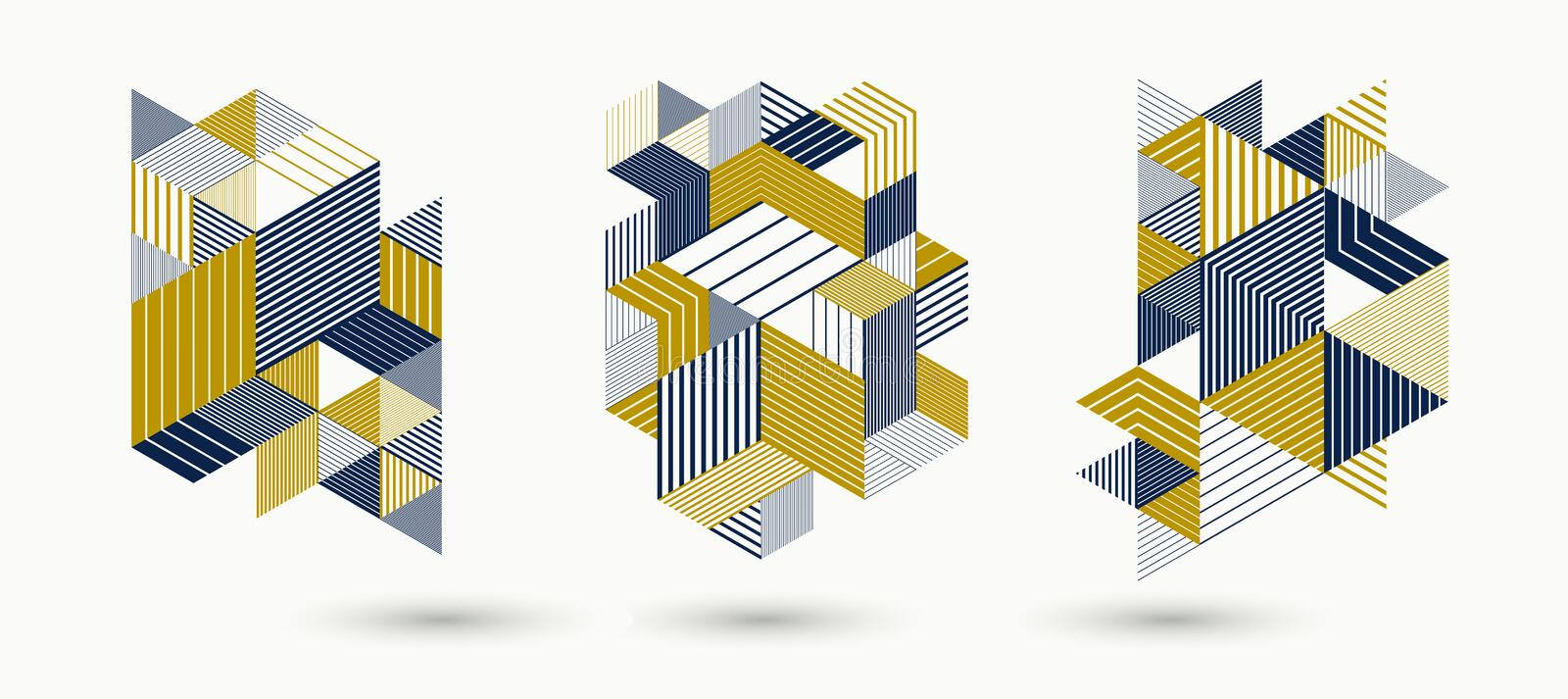 3D cubes and triangles lined stripy abstract vector backgrounds set with retro style elements isolated and easy to use or edit. royalty free illustration