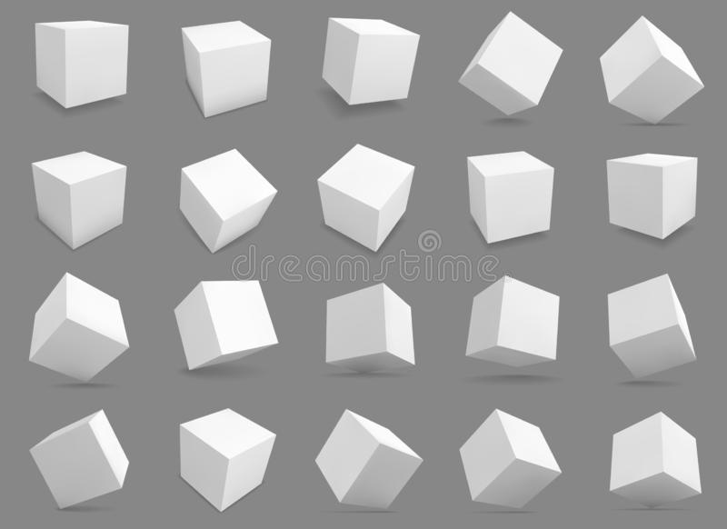 3d cubes. White blocks with different lighting and shadows, boxes in perspective. Abstract geometric square shapes royalty free illustration