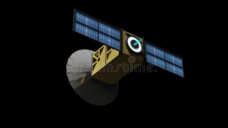 3D CubeSat avec la propulsion d'ion illustration stock